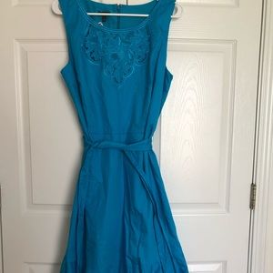 NWOT Talbots blue embroidered ruffle midi dress